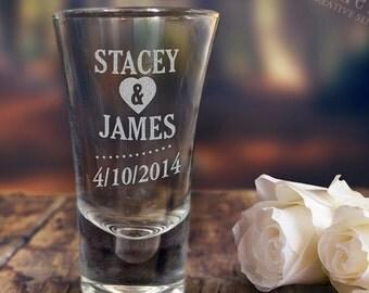 Engraved 60ml Shot Glass Wedding Favour Gift Birthday Hens Bucks Personalised
