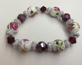 Maroon Rose Garden Bracelet