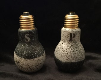Hand Painted Light Bulb Shaped Salt and Pepper Shakers