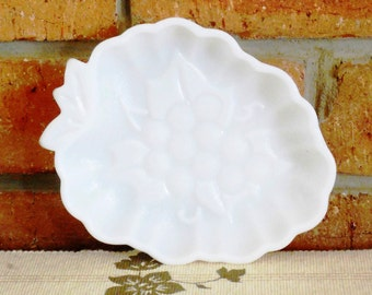 Milk glass vine leaf nuts or sweets dish with embossed grape motif 1950s