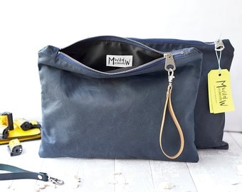 Weekender Bag, Travel Wallet, Gifts For Travellers, Wax Canvas Bag, Travel Bag, Wristlet Bag, Toiletry Bag, Makeup Bag, Navy, Birthday Gift