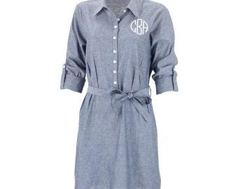 Dress, Monogrammed Dress, Women's Dress, Chambray Dress, Cotton Dress