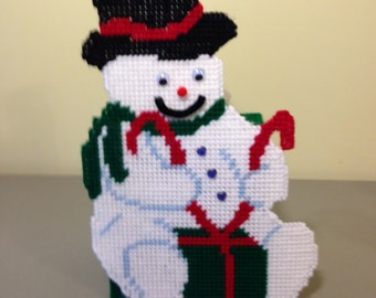 Snowman Tissue Box, Plastic Canvas, Winter, Christmas, Christmas Decoration, Gift for Snowman Lovers,