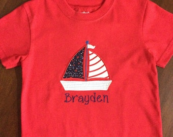 4th of July boat t-shirt