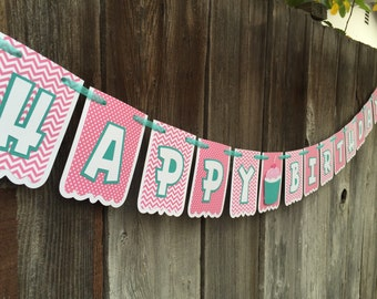 Cupcake Happy Birthday Banner, Cupcake Banner, Girl Birthday Banner