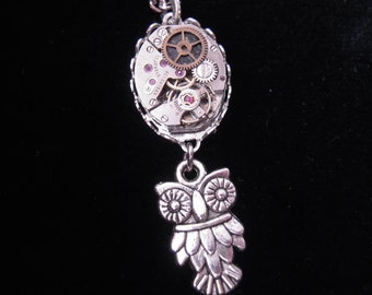 Steampunk OWL Necklace Watch vintage necklace OWL STEAMPUNK OWL watch vintage A464 mechanism Movement