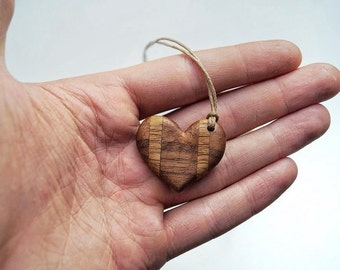Walnut-Oak Heart Pendant Wooden Jewelry