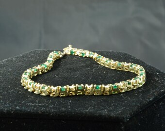 Emerald and Diamond Tennis Bracelet ~ Gorgeous, Classic Style