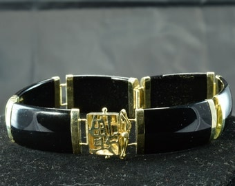 Gorgeous Black Onyx and 14k Yellow Gold Bracelet with Chinese Character