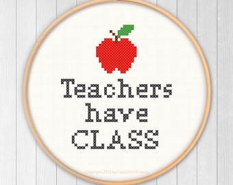 Teachers have CLASS cross stitch apple school student read reading books thank you sew needlework PDF instant download pattern