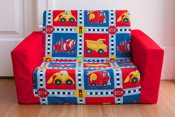 kids toddler flip out sofa cover truck print with red base. Black Bedroom Furniture Sets. Home Design Ideas
