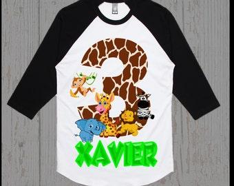 Safari Jungle Birthday Shirt - Jungle Birthday Shirt - Raglan Available