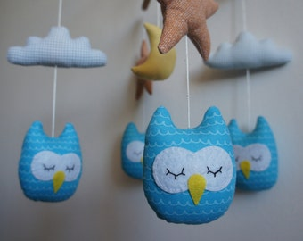 Blue Star owls orange white cloud and Yellow Moon baby mobile