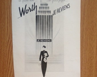 Worth Je Reviens  Ad Wall Art Print Vintage Advertisement Print