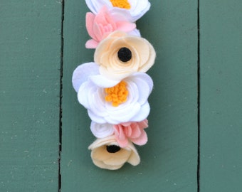 Pink, Peach and White Felt Flower Headband for Baby or Child