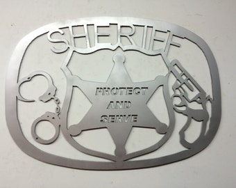 Protect and Serve Sheriff metal art