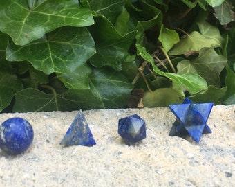 Lapis Lazuli 7- piece Geometry Set Platonic Solids Sacred Crystal Chakra Healing