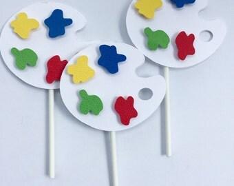 12 Paint palette cupcake topper| art party | paint palette | cupcake topper| birthday decorations|cake | cupcake