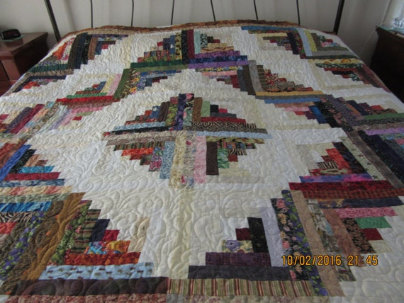 Log Cabin Quilt Pattern Free Queen Size : Reduced Queen size quiltReduced Queen Log by ElainesNimbleNeedle