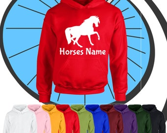 Childrens Custom Printed Horse Hoodie - Horses Name - Personalised Pony Hooded Top Gift - Boys & Girls Personalized Equestrian Present Hood