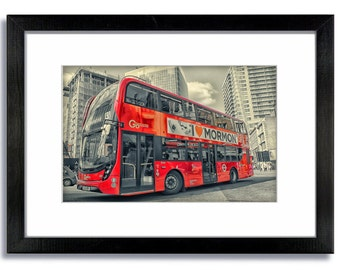 London Photography -  Red Bus Mormon Framed Mounted Print