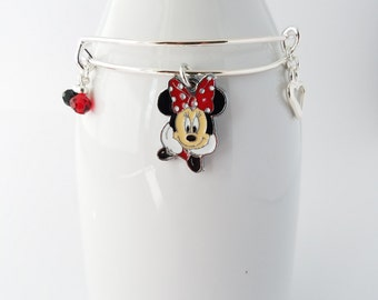 Minnie silver plated bangle bracelet - adult or child size available
