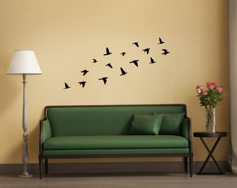 Bird Decal | Flock of Flying Birds wall sticker | Removable Stickers
