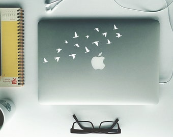 Laptop Decal - Flying Birds | Removable Vinyl Sticker in Black, White, Grey | Flock of Birds Macbook Decor | Mac Book Accessory Accessories