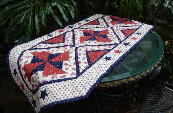 Easy Pieced Pinwheel Table Runner Pdf Quilt Pattern Summer