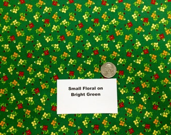 Floral Print on Bright Green Fabric - 2 Yards