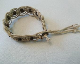 Fancy Beaded HEMP ANKLE BRACELET - all natural hippie jewelry!