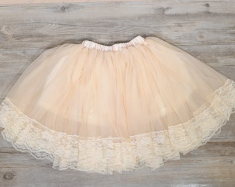 Champagne Baby Pettiskirt, Flower Girl Skirt, Country Flower Girl tutu, Lace Flower Girl Skirt, Rustic Flower Girl Skirt, toddler tutu