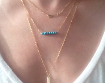 turquoise beaded necklace, gem bar necklace, december birthstone, 14k gold filled, turquoise bar necklace, gem bar