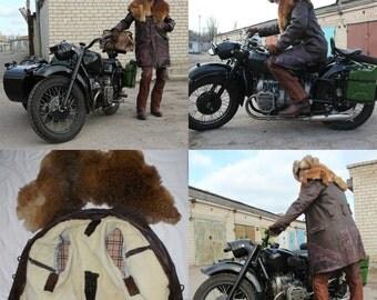 Biker leather coat.
