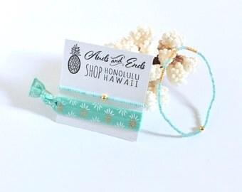 Beach Bracelet Set | hair tie | elastic | beaded bracelet