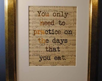 You Only Need to Practice | 505 | Gold Foil Art Print | Vintage Sheet Music Wall Art | Antique Sheet Music