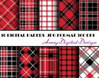 Plaid digital paper, Tartan digital paper, Red and Black, Christmas paper, Plaid paper, Plaid digital paper, Red and Black paper