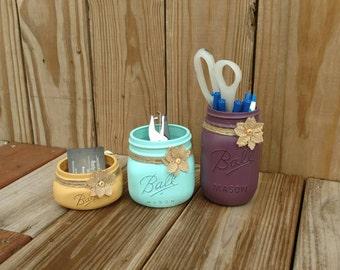 Mason Jar Desk Set, Desk Set, Mason Jar Office, Shabby Chic Desk Set, Mason Jar Office Set, Office Set, Desk Decor, 3pc Desk Set, Mason Jar