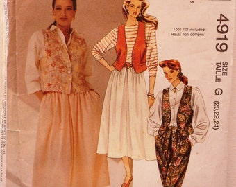 Sewing Pattern for Women Size 20,22,24 Ladies Vest Skirt Pants Uncut McCall's 4919 90s Sewing Fashion