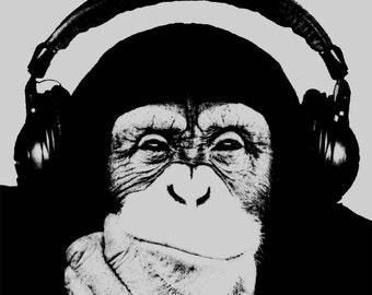 Monkey art print pop art poster chimp chimpanzee headphones Andy Warhol style cool hipster original art