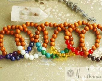 7 Chakra Bracelet Set - Gemstone Bracelets - Wood - Boho - Yoga - Reiki - Chakra - Meditation - Healing - Jewelry