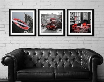 London Print Set Square Art Photography Red Black White