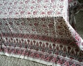 Stunning large vintage black cream red tablecloth! Oblong table topper great pattern