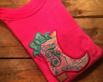 Boot Applique Shirt with last initial
