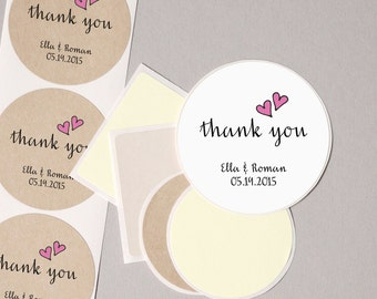 """baby shower THANK you labels stickers pink hearts modern minimalist personalized round 12 large 2.5"""" or 20 medium 2"""" baby girl party favors"""