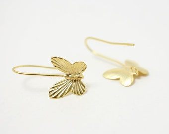 E0062/Anti-tarnished Matte Gold Plating Over Brass/Butterfly Earring Hook /13 x 15mm/2pcs
