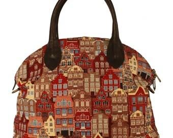 Tapestry Handbag Flemish House 50x45cm (19,6 X 17,7 inches)