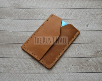 FREE SHIPPING - Genuine Leather Rugged Credit Card Wallet - Cognac
