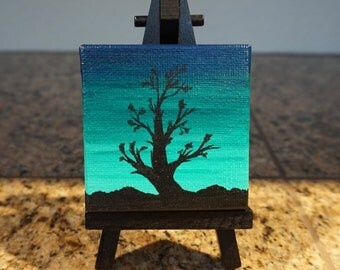 Mini Easel Canvas Painting Blue, Green, & Teal Tree Silhouette