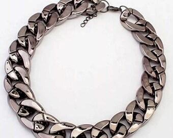 Statement chocker gun metal Tone chain curb link necklace Christmas birthday choker